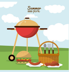 Colorful poster of summer picnic with field vector