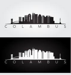 columbus usa skyline and landmarks silhouette vector image vector image