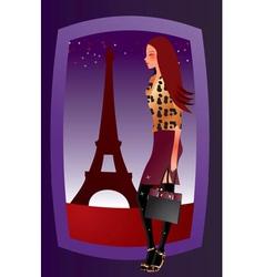 fashion sexy girl in paris vector image