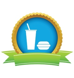 Gold burger with a drink logo vector