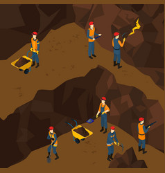 isometric working miner people concept vector image