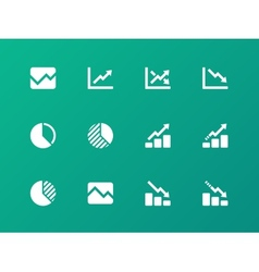 Line chart and Diagram icons on green background vector image vector image