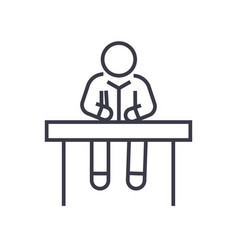 man sitting at office desk linear icon sign vector image