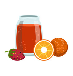 orange and strawberry smoothie non-alcoholic vector image vector image
