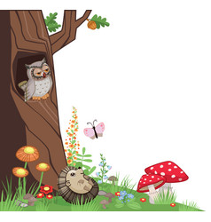 tree corner owl hedgehog mushrooms vector image vector image