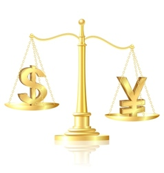 Yen outweighs Dollar on scales vector image