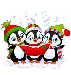 Christmas carolers penguins vector image