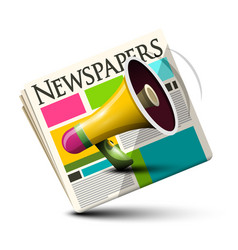 dialy paper newspapers icon with megaphone vector image