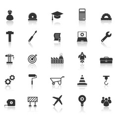 engineering icons with reflect on white background vector image vector image