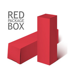 Red realistic box mockup template vector