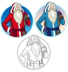 Christmas Characters Father Frost and Pere Noel vector image