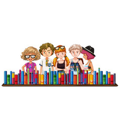 five teenagers and many books vector image