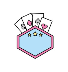label with poker cards vector image