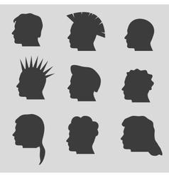 Nine types of man hair styles head silhouettes vector