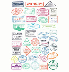 Passport stamps or visa pages for traveling abroad vector