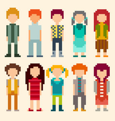 set of pixel art style characters vector image