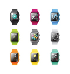Smart watch isolated with icons full color vector image vector image