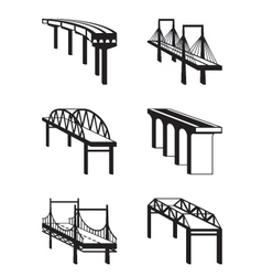 Various bridges in perspective vector image vector image