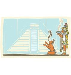 Mayan Priest Sacrifice and Pyramid vector image vector image