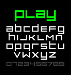 old style video game font alphabet and numbers vector image vector image