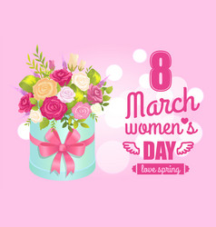 8 march womens day poster with realistic bouquet vector image