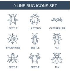 9 bug icons vector