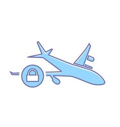 airplane flight lock plane transport travel icon vector image