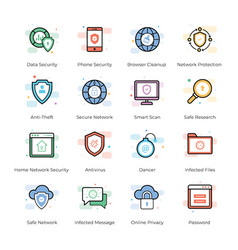 antivirus and security icons pack vector image