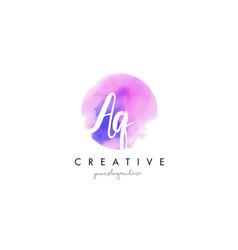 Aq watercolor letter logo design with purple vector