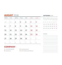 august 2018 calendar planner design template week vector image vector image