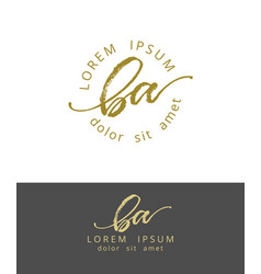 b a initials monogram logo design dry brush vector image