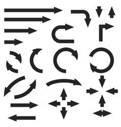black bold arrows set set icons and icons vector image