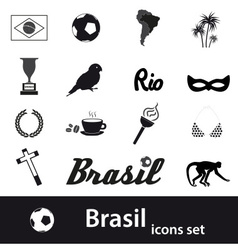 black brazil icons and symbols set eps10 vector image