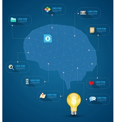 Brain abstract with icons vector image