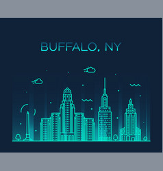 buffalo skyline new york usa linear style vector image