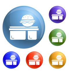 burger lunchbox icons set vector image