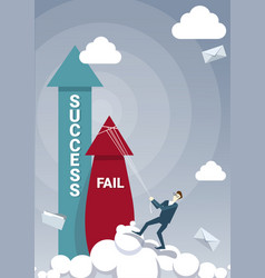 business man hold fail with rope while sucess vector image