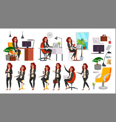 business woman lady character working vector image