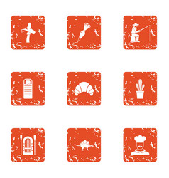 Catch fish icons set grunge style vector