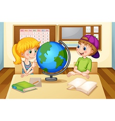 Children and globe vector image