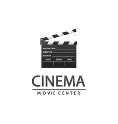 cinema logo with clapper vector image