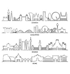 Cityscape building london singapore madrid rome vector