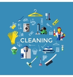 Cleaning Round Composition vector image