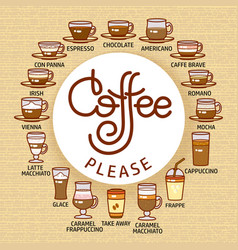 Coffee please card set of cute various beverage vector