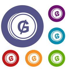 Coin guarani icons set vector
