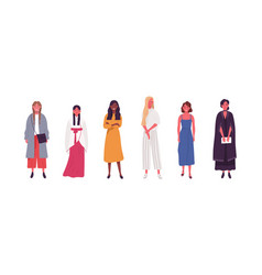 collection diverse multicultural woman in vector image
