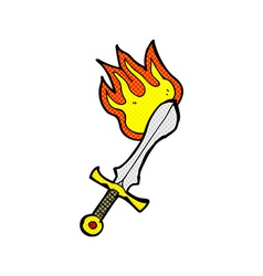 comic cartoon flaming sword vector image vector image