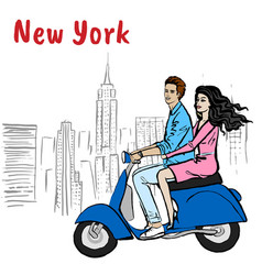 Couple driving scooter vector