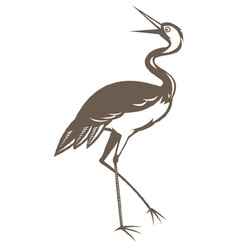 Crane looking up done in retro woodcut style vector