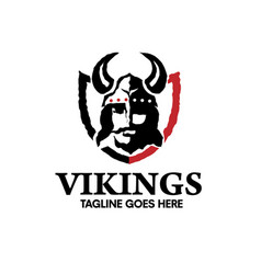 creative viking head warrior with a horned helmet vector image